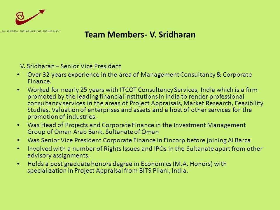 Team Members- V. Sridharan