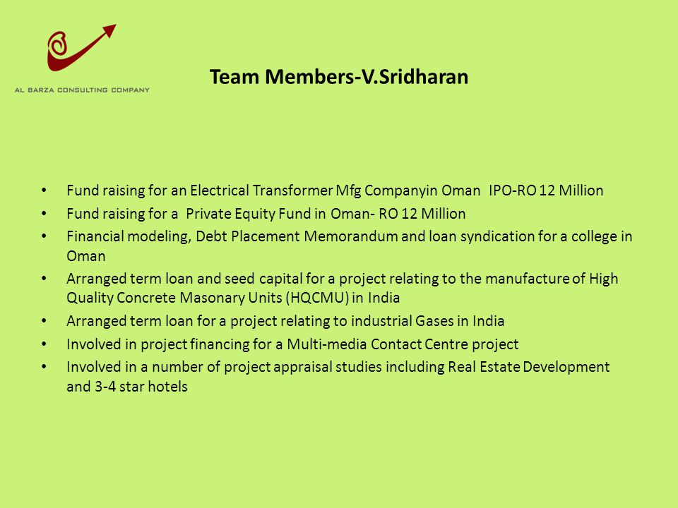 Team Members-V.Sridharan