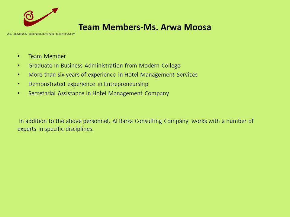 Team Members-Ms. Arwa Moosa