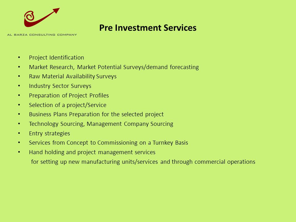Pre Investment Services
