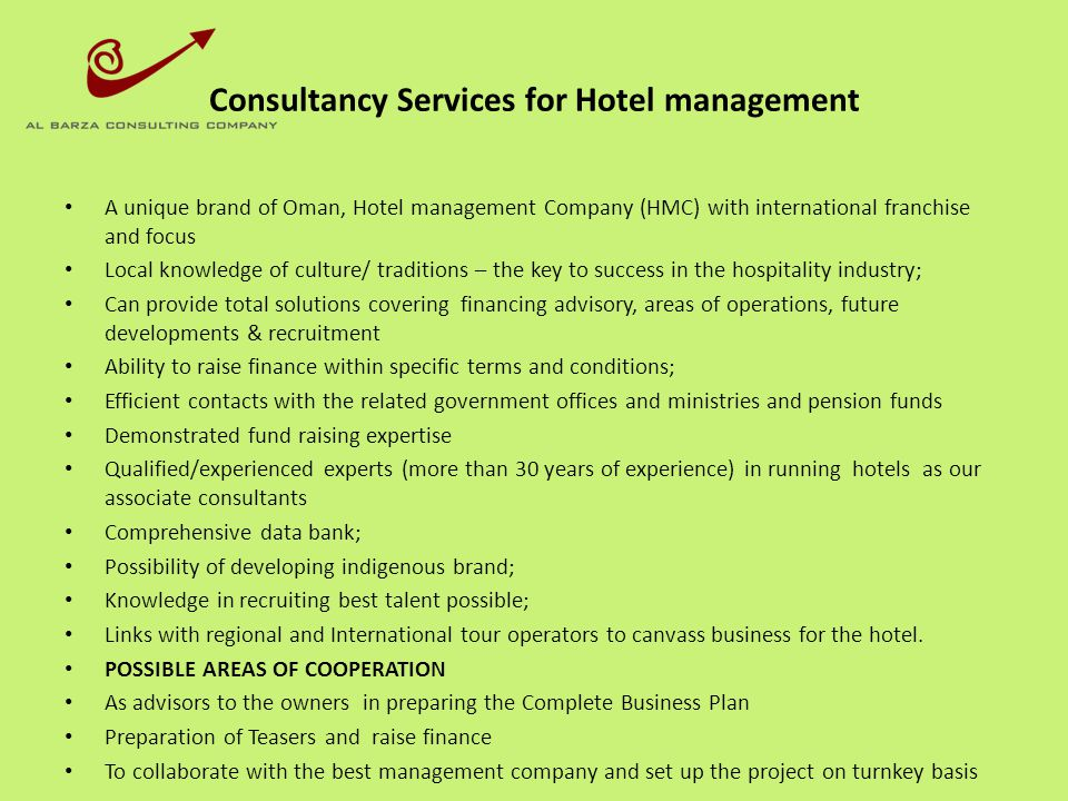 Consultancy Services for Hotel management