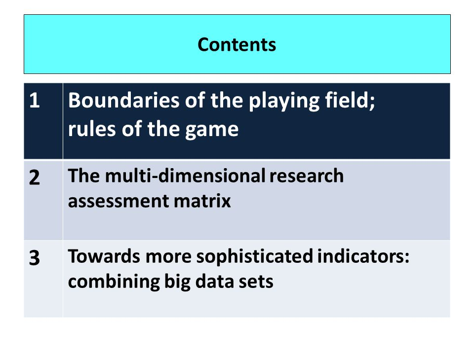 Boundaries of the playing field; rules of the game 2