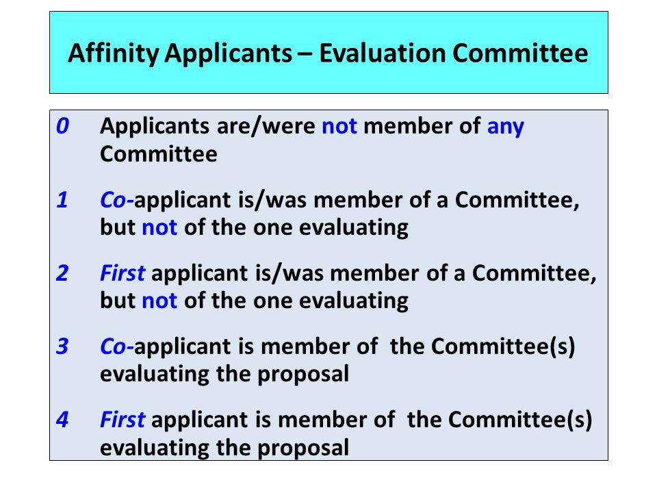 Affinity Applicants – Evaluation Committee