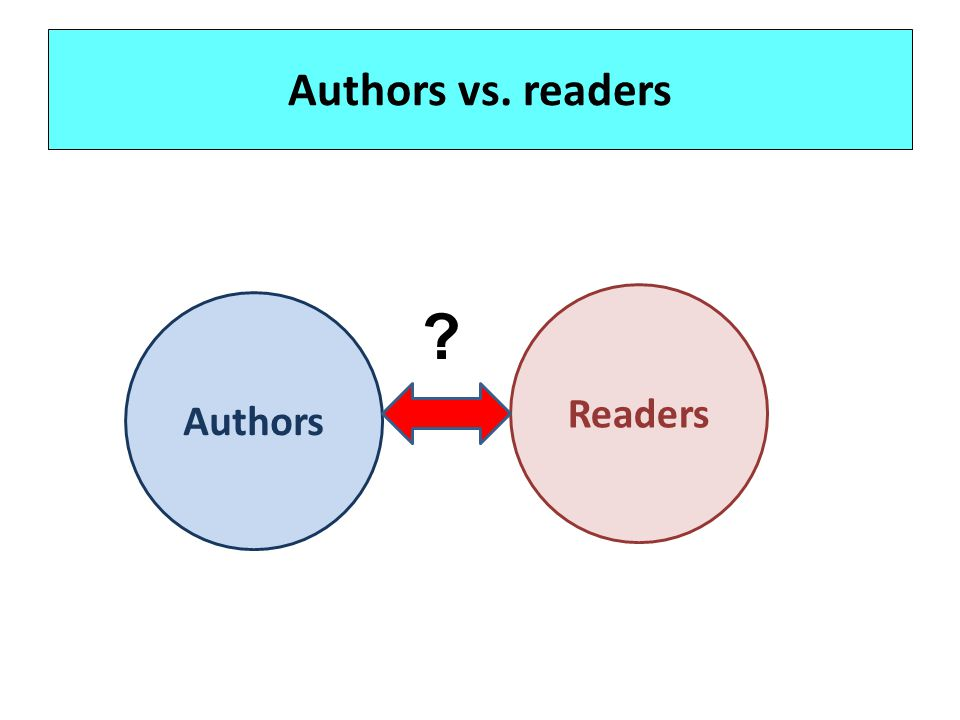 Authors vs. readers Readers Authors