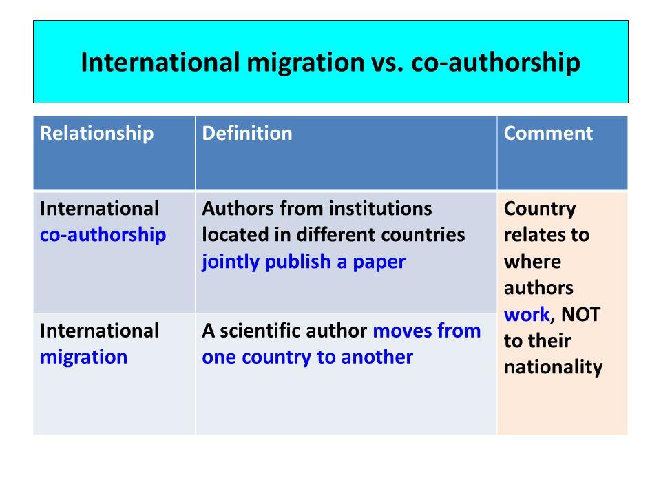 International migration vs. co-authorship