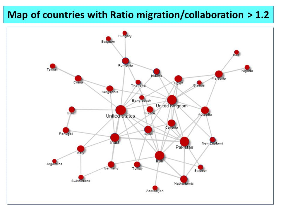Map of countries with Ratio migration/collaboration > 1.2