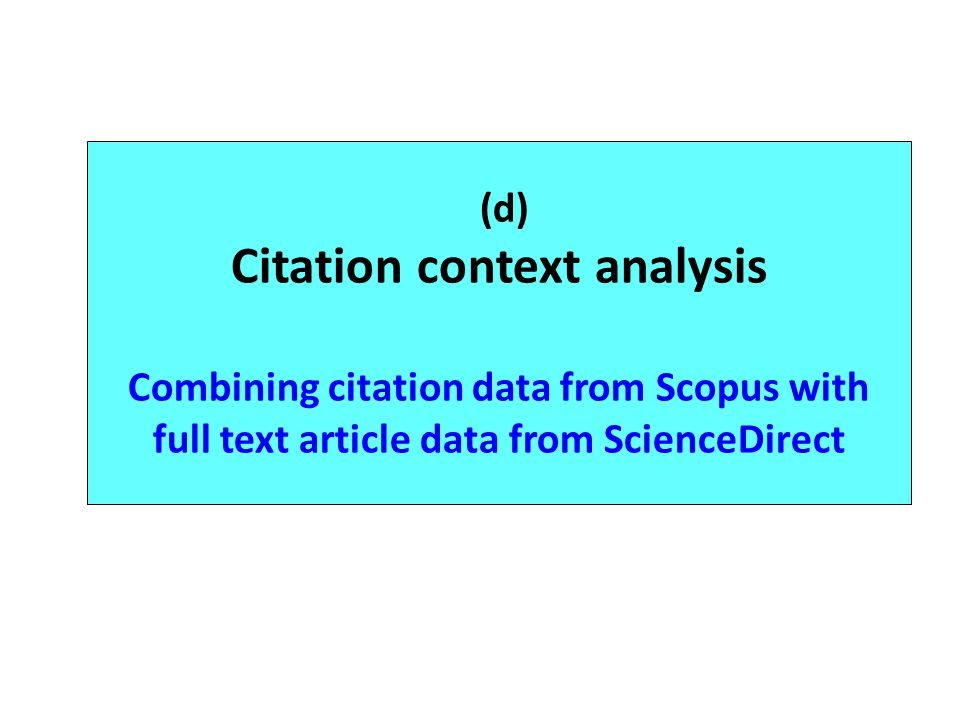 (d) Citation context analysis Combining citation data from Scopus with full text article data from ScienceDirect