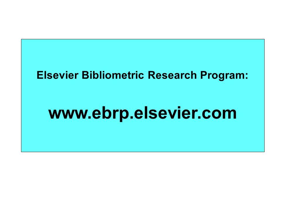 Elsevier Bibliometric Research Program: www.ebrp.elsevier.com