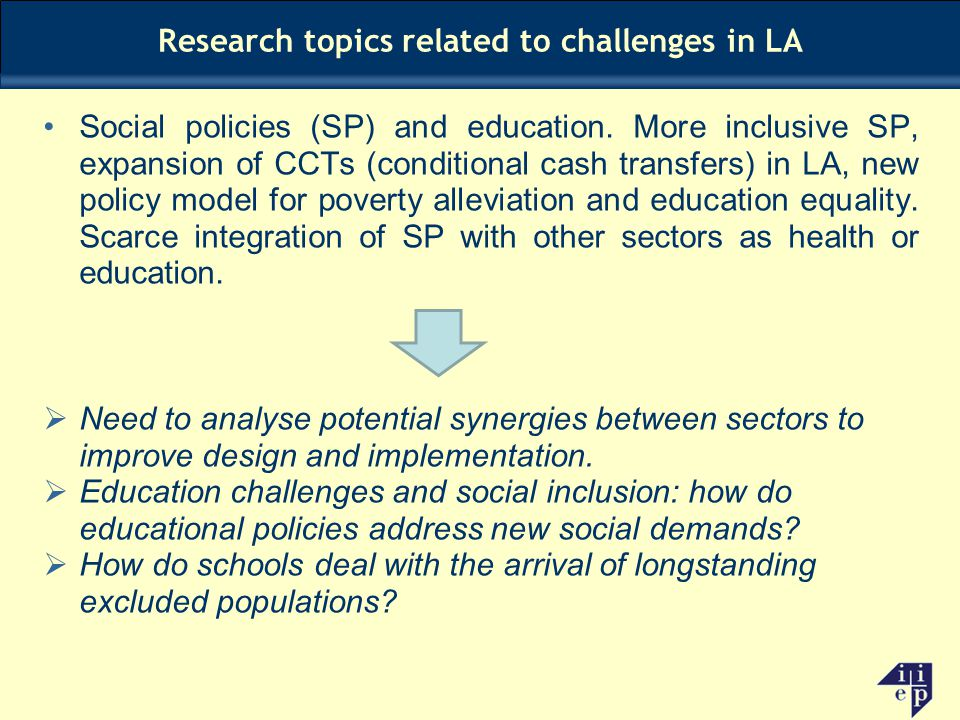 Research topics related to challenges in LA