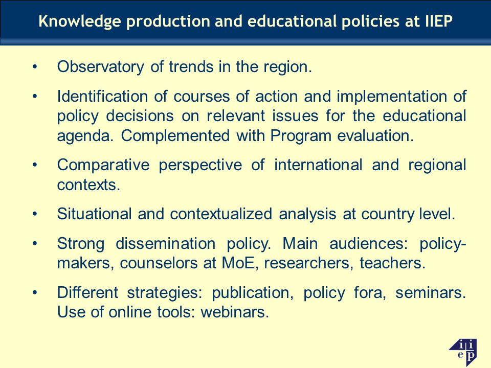 Knowledge production and educational policies at IIEP