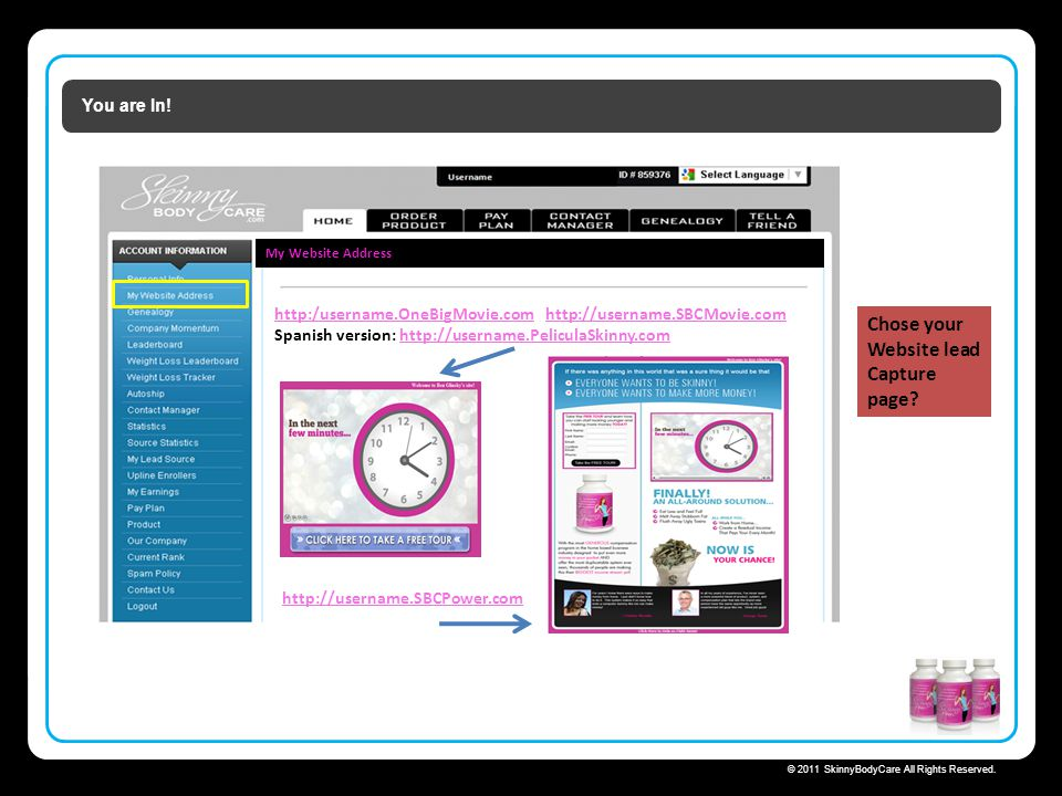 Skinny Body Care  Chose your Website lead Capture page You are In!