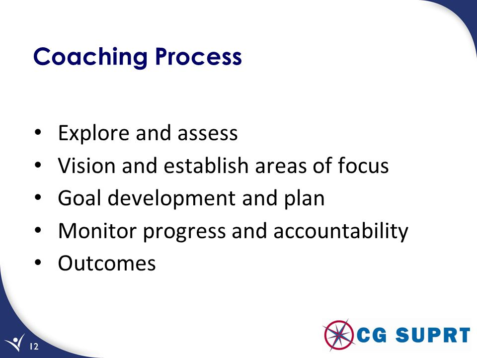 Coaching Process Explore and assess. Vision and establish areas of focus. Goal development and plan.