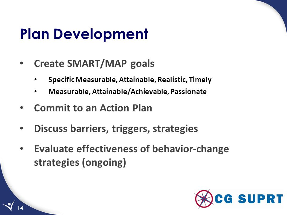 Plan Development Create SMART/MAP goals Commit to an Action Plan