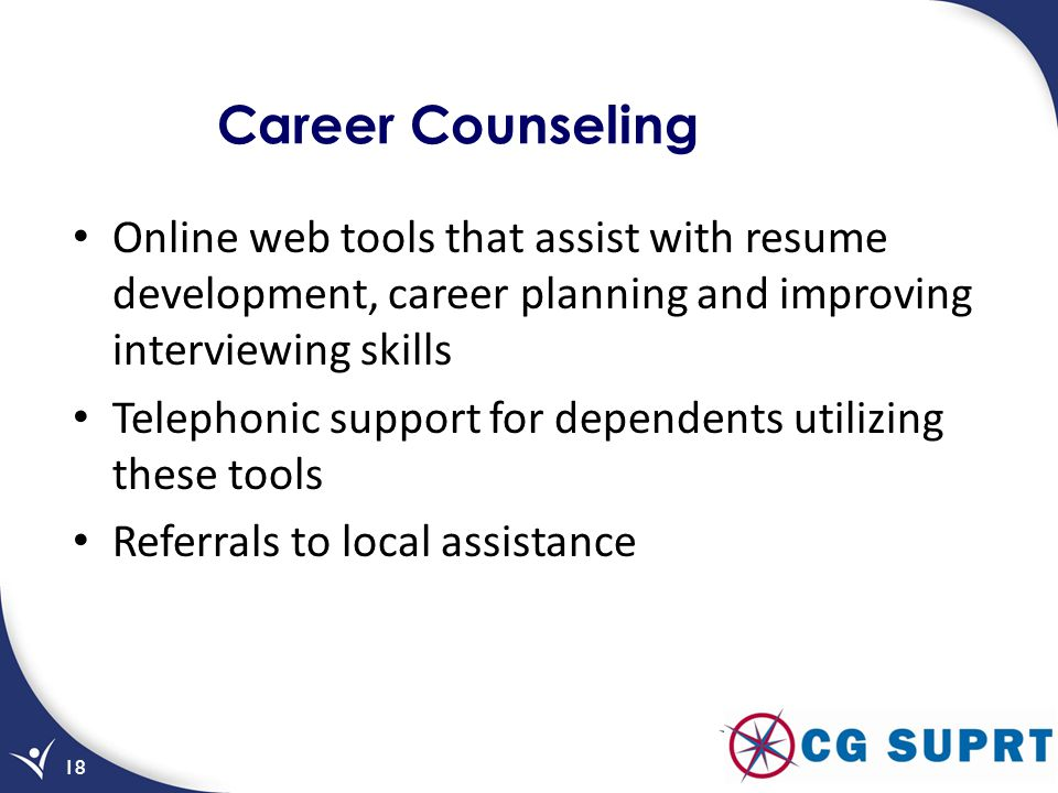 Career Counseling Online web tools that assist with resume development, career planning and improving interviewing skills.