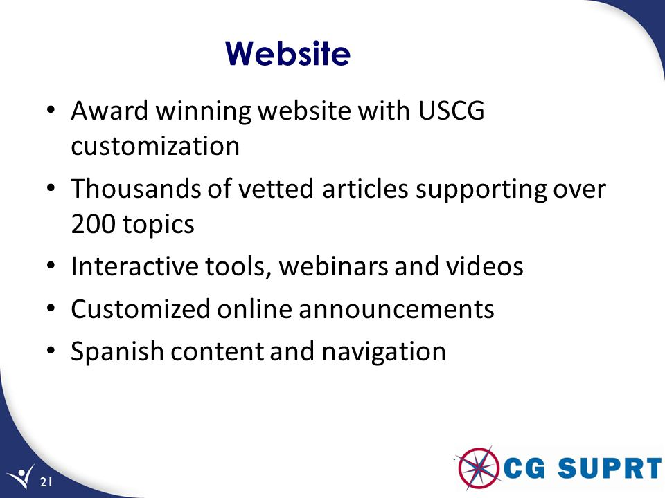 Website Award winning website with USCG customization