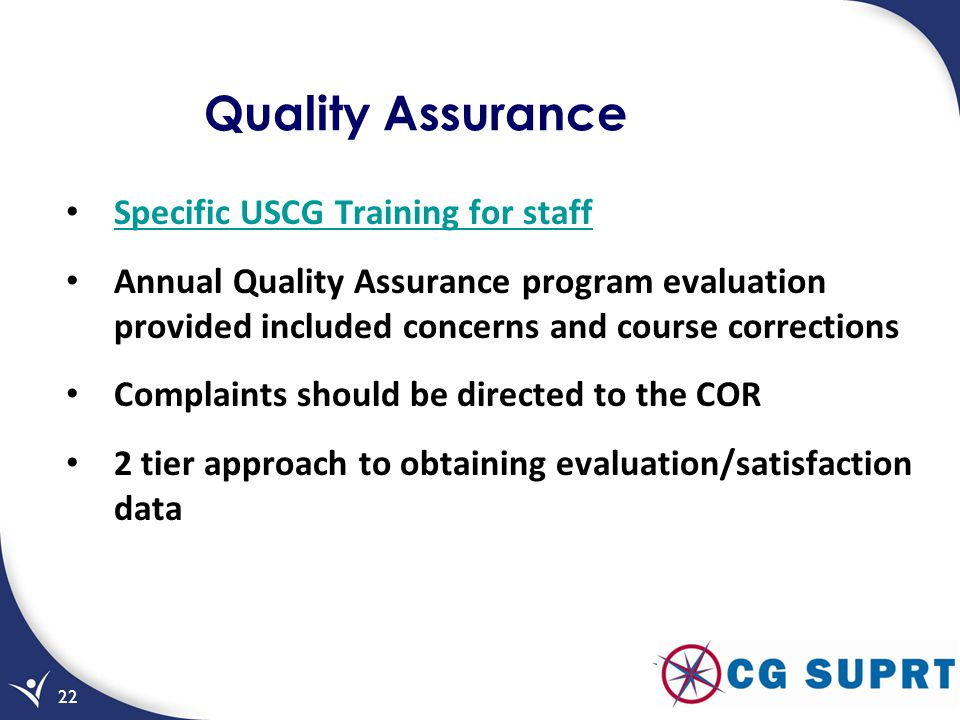 Quality Assurance Specific USCG Training for staff