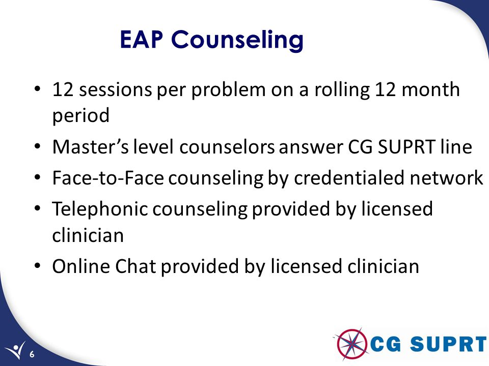 EAP Counseling 12 sessions per problem on a rolling 12 month period