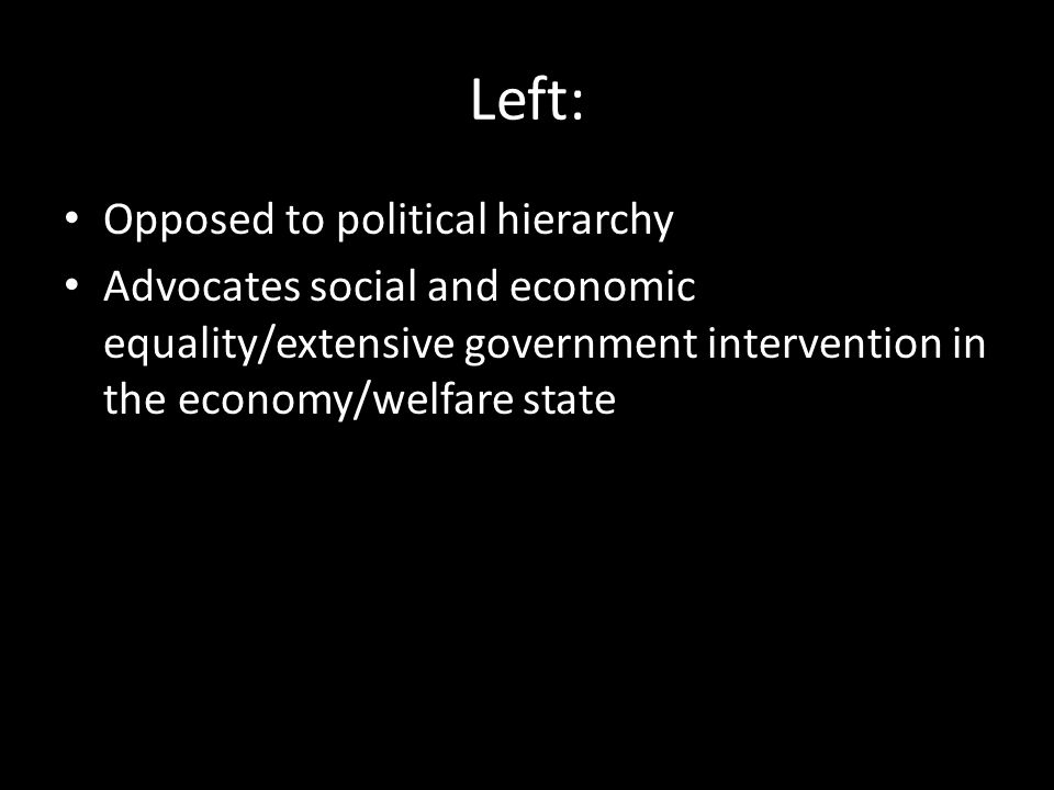 Left: Opposed to political hierarchy
