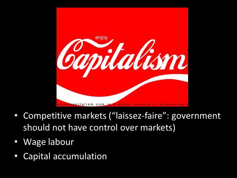 Competitive markets ( laissez-faire : government should not have control over markets)