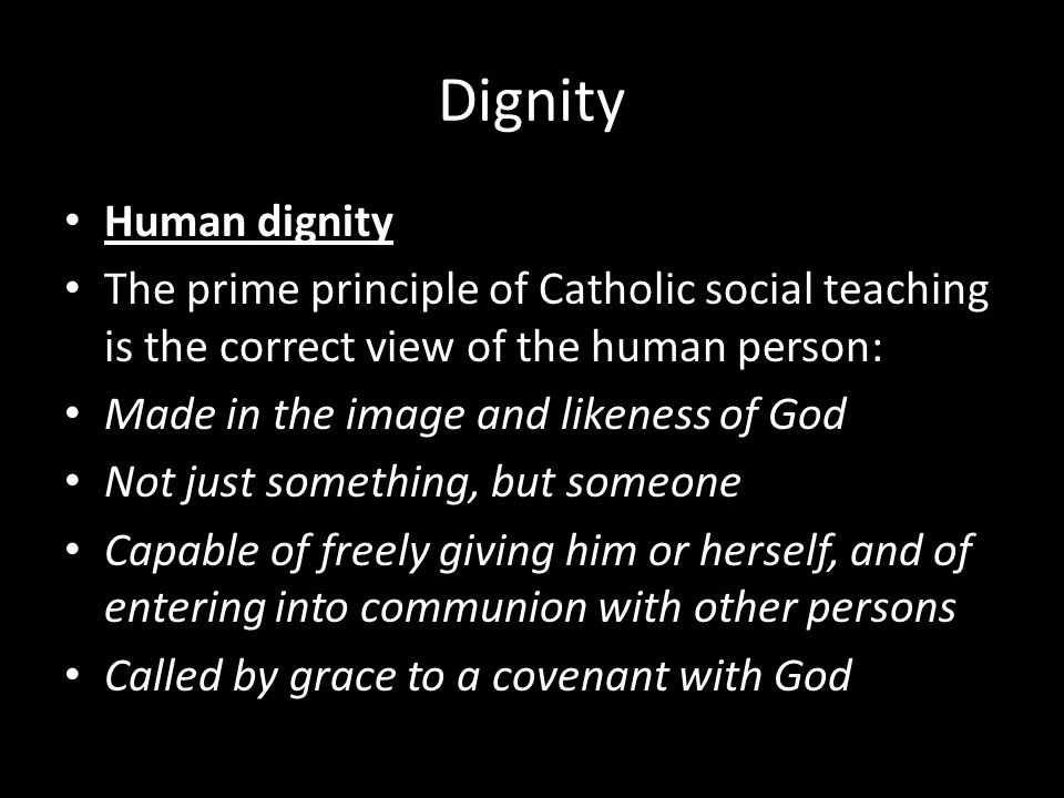 Dignity Human dignity. The prime principle of Catholic social teaching is the correct view of the human person: