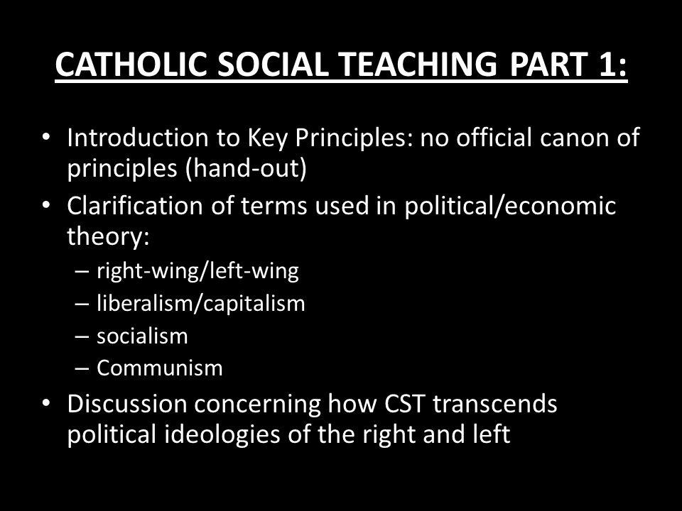 CATHOLIC SOCIAL TEACHING PART 1: