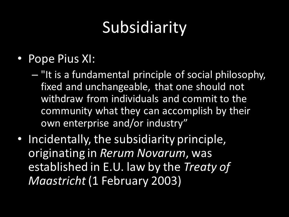 Subsidiarity Pope Pius XI: