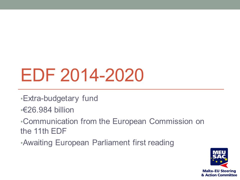 EDF 2014-2020 Extra-budgetary fund €26.984 billion