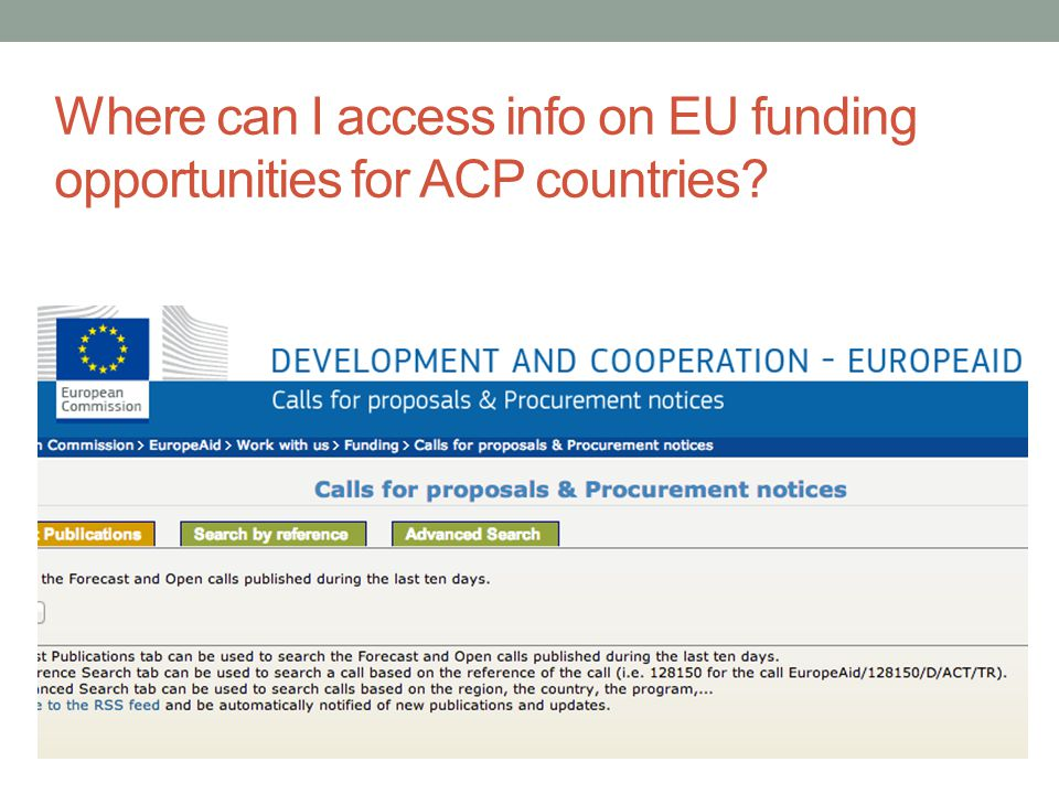 Where can I access info on EU funding opportunities for ACP countries
