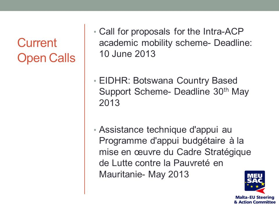 Call for proposals for the Intra-ACP academic mobility scheme- Deadline: 10 June 2013