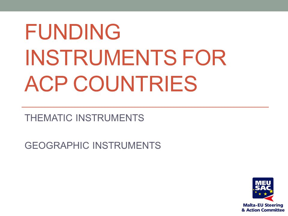 Funding Instruments for ACP Countries