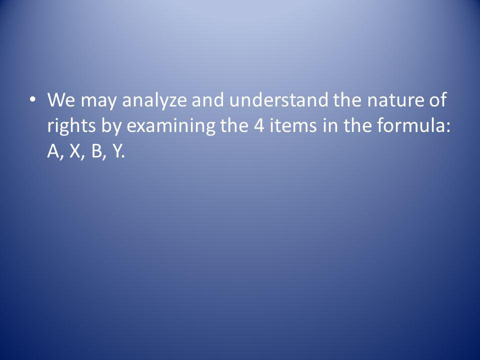 We may analyze and understand the nature of rights by examining the 4 items in the formula: A, X, B, Y.