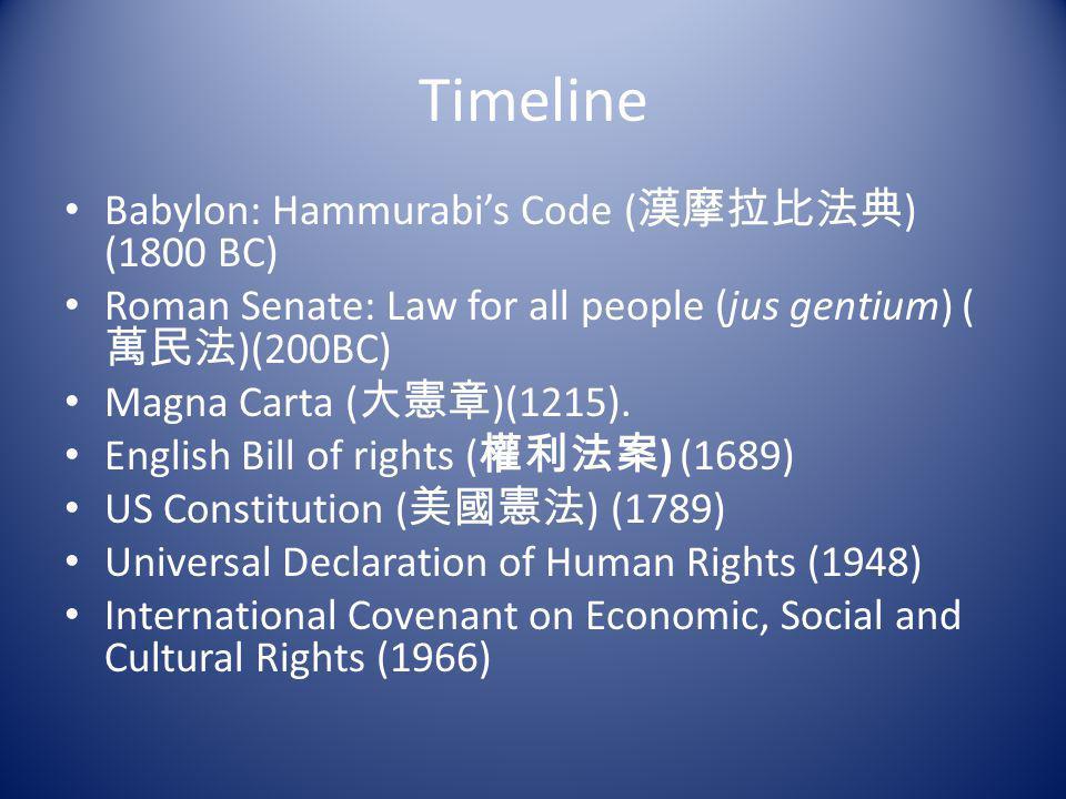 Timeline Babylon: Hammurabi's Code (漢摩拉比法典) (1800 BC)
