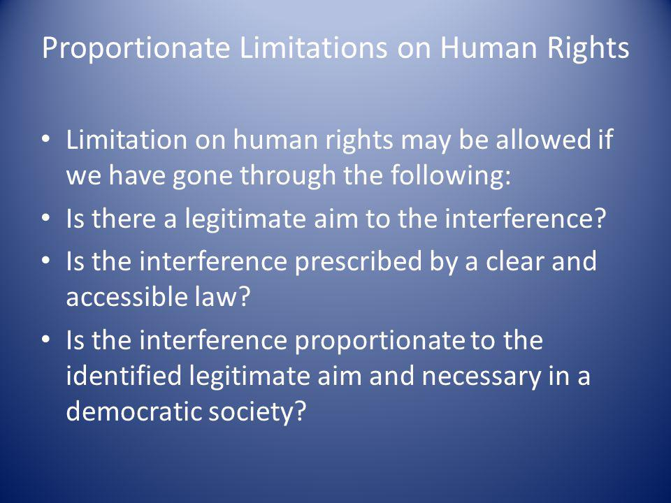 Proportionate Limitations on Human Rights