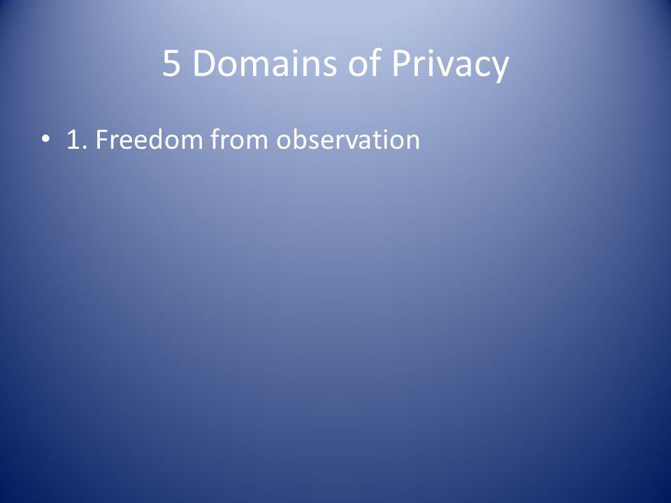 5 Domains of Privacy 1. Freedom from observation