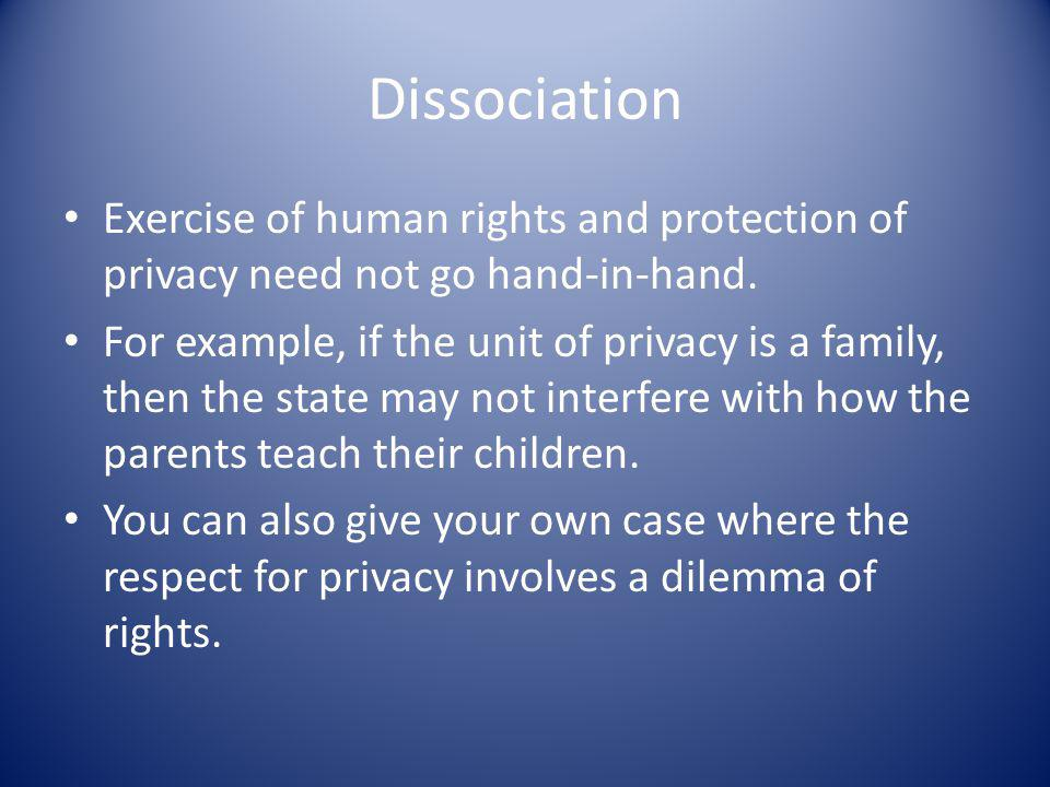 Dissociation Exercise of human rights and protection of privacy need not go hand-in-hand.