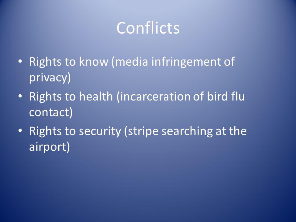 Conflicts Rights to know (media infringement of privacy)