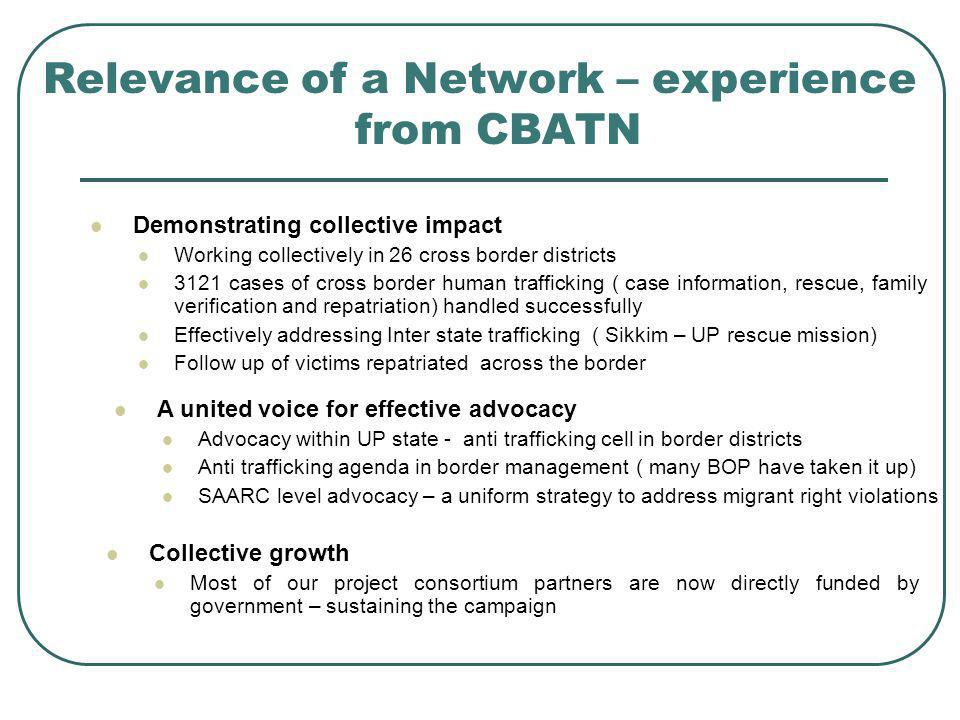 Relevance of a Network – experience from CBATN