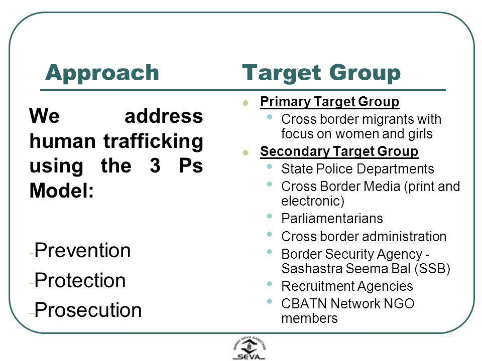 Approach Target Group. Primary Target Group. Cross border migrants with focus on women and girls.