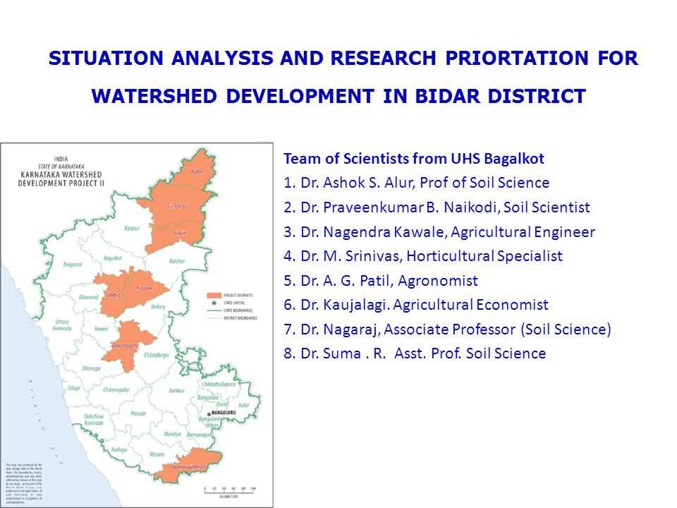 SITUATION ANALYSIS AND RESEARCH PRIORTATION FOR WATERSHED DEVELOPMENT IN BIDAR DISTRICT