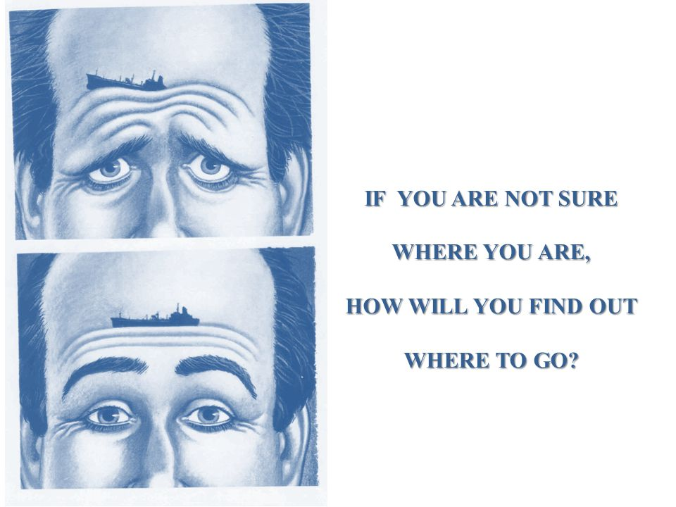 IF YOU ARE NOT SURE WHERE YOU ARE, HOW WILL YOU FIND OUT WHERE TO GO