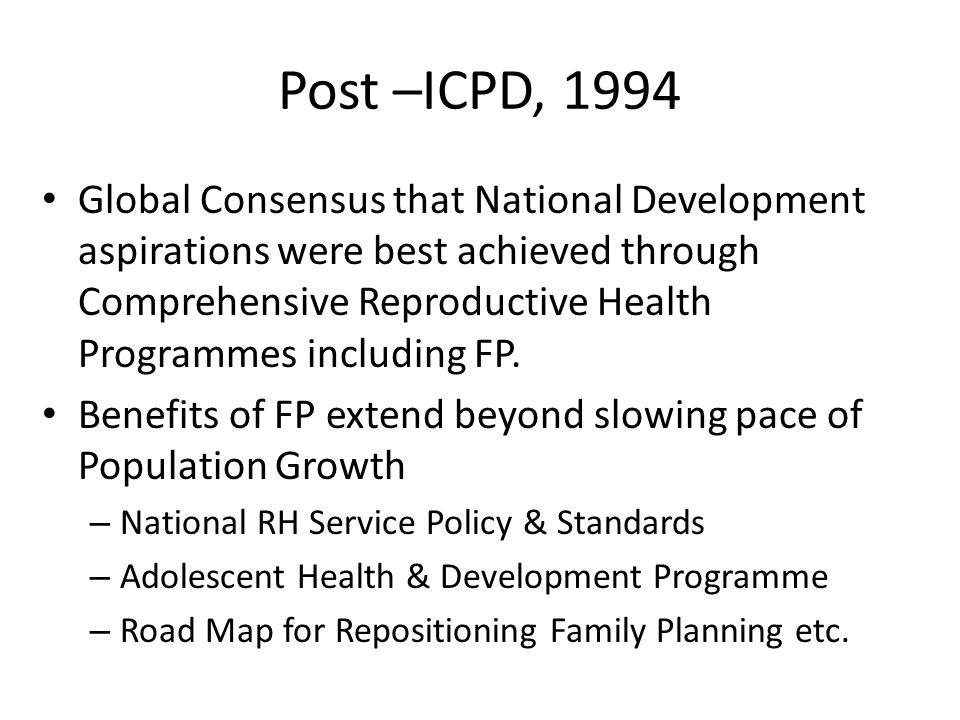 Post –ICPD, 1994
