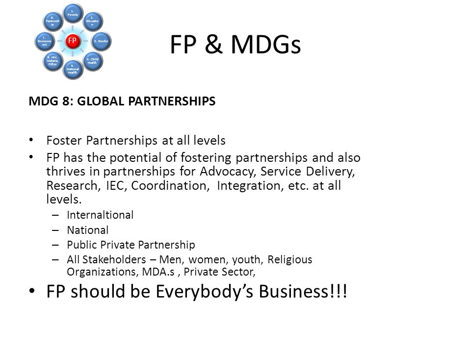 FP & MDGs FP should be Everybody's Business!!!