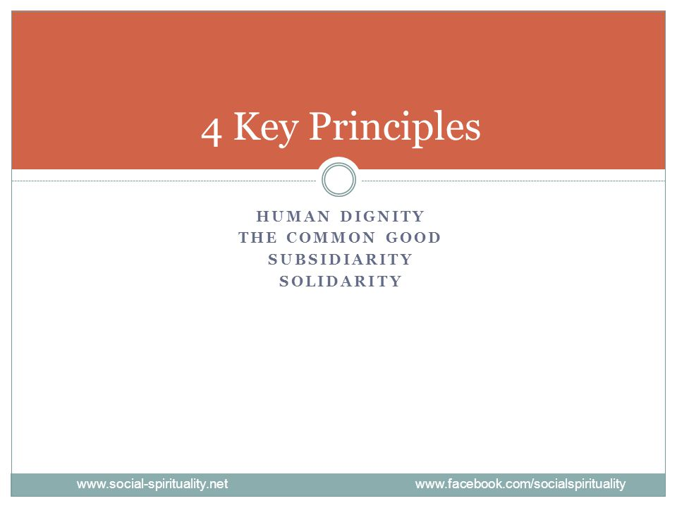 4 Key Principles Human Dignity The Common Good Subsidiarity Solidarity