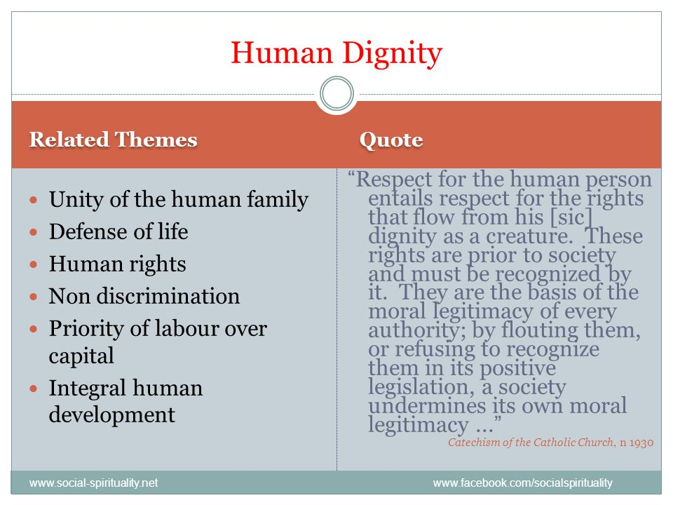 Human Dignity Related Themes. Quote.