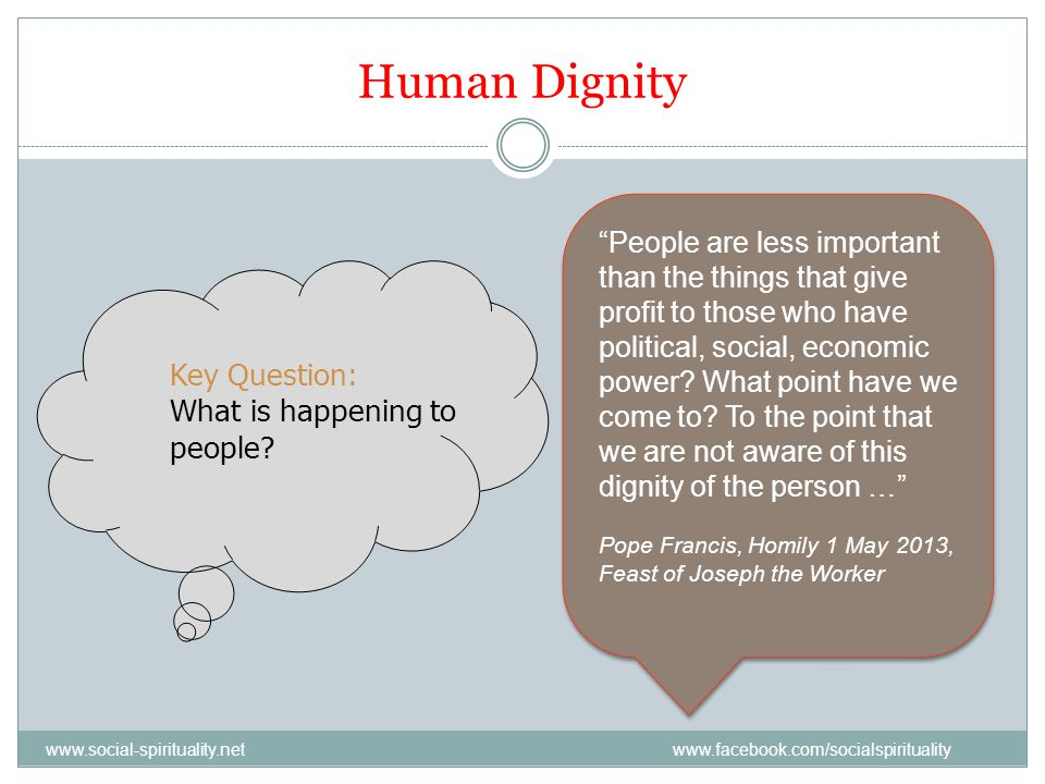 Human Dignity Key Question: What is happening to people