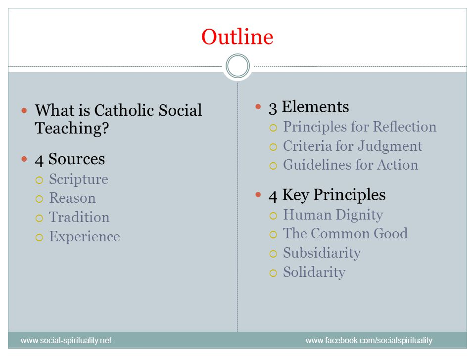 Outline 3 Elements What is Catholic Social Teaching 4 Sources