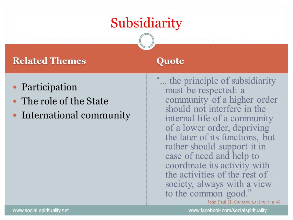Subsidiarity Related Themes. Quote.