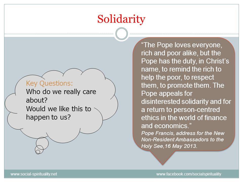 Solidarity Key Questions: Who do we really care about