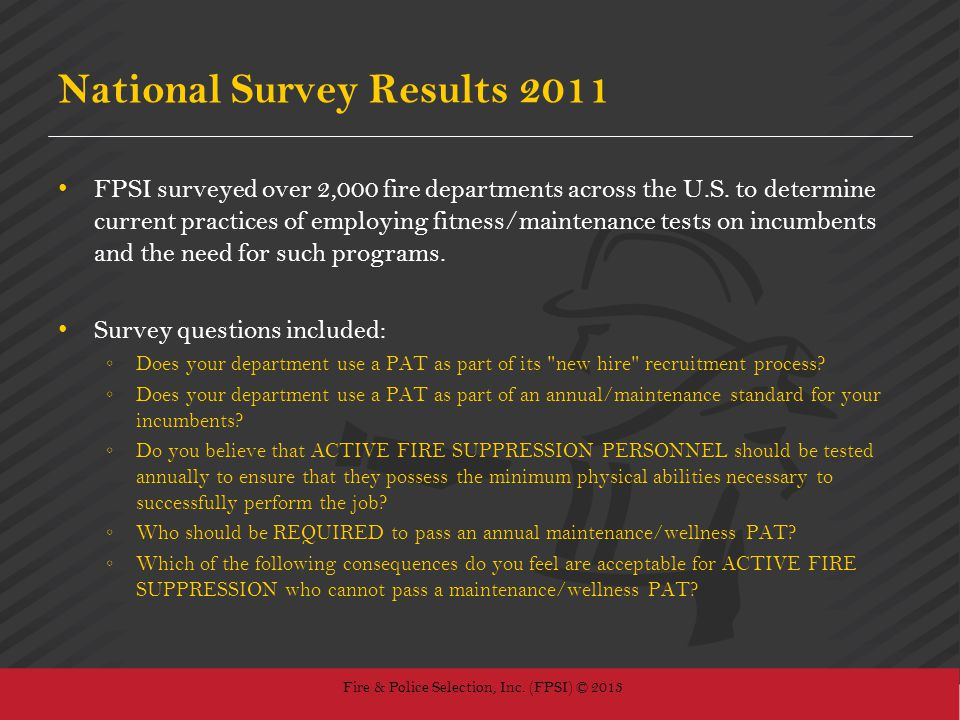 National Survey Results 2011