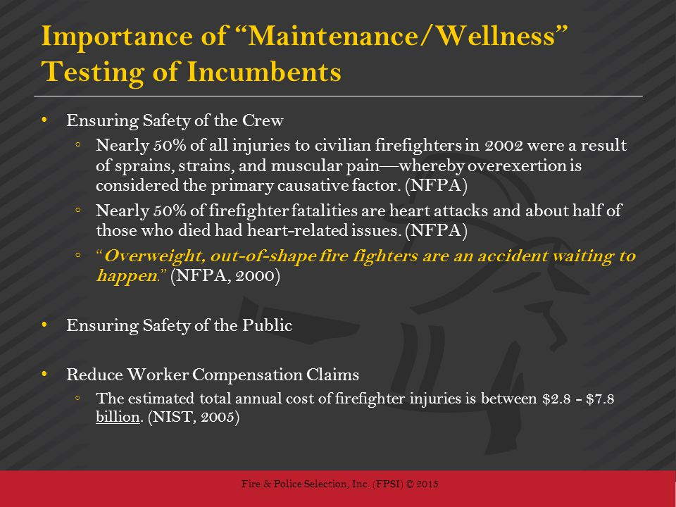 Importance of Maintenance/Wellness Testing of Incumbents